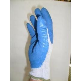 Blue cotton / rubber gloves for mechanics (Large).
