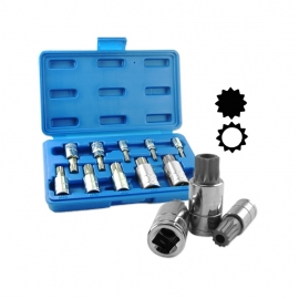 10PC XZN TRIPLE SQUARE SPLINE BIT SOCKET SET (10056A)