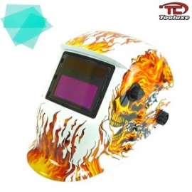 Auto Darkening/Solar Powered Welding Helmet - Skeleton Flame Design | TIG/MIG (53935L)