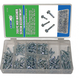 200 PC HEX WASHER SCREW ASSORTMENT (43159)
