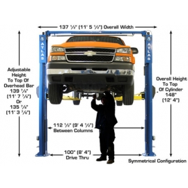 Atlas Certified Apex-10 Overhead 10,000 lbs. Capacity Adjustable Height 2 Post Above Ground Lift