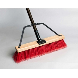 207024- Red Push Broom 24in With Brace & HDL
