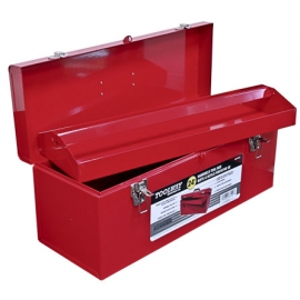 187124- Tool Box 24in Steel Red w/Handle and 2 Latches